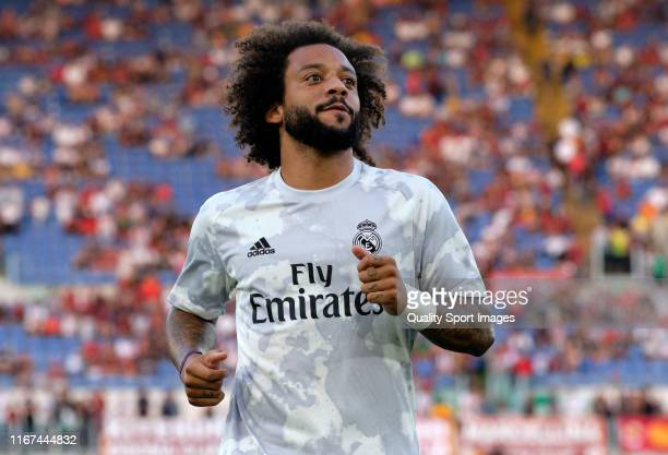 Marcelo of Real Madrid warms up prior to the preseason friendly match between AS Roma and Real Madrid at Stadio Olimpico on August 11 2019 in Rome...
