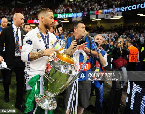 Marcelo of Real Madrid with the trophy as his side celebrate winning the 2017 UEFA Champions League during the UEFA Champions League Final match...