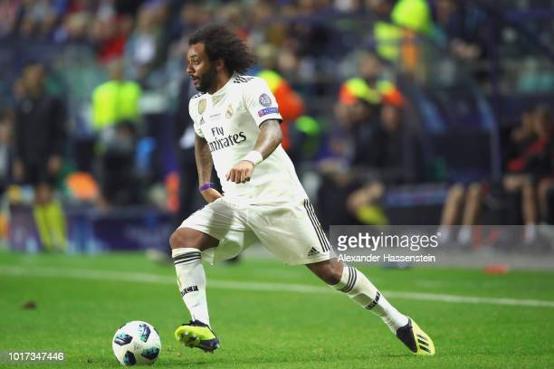 Marcelo of Real runs with the ball during the UEFA Super Cup between Real Madrid and Atletico Madrid at Lillekula Stadium on August 15 2018 in...