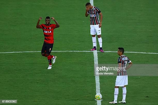 Marcelo of Vitoria celebrates a scored goal during a match between Fluminense and Vitoria as part of Brasileirao Series A 2016 at Maracana stadium on...