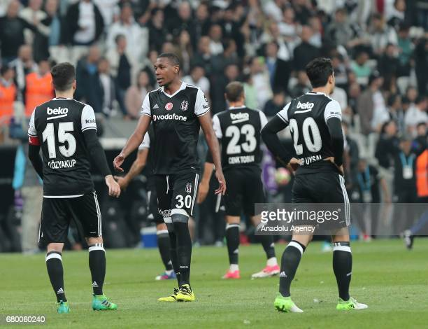 Marcelo Oguzhan Ozyakup and Necip Uysal of Besiktas react after the Turkish Spor Toto Super Lig soccer match between Besiktas and Fenerbahce at...