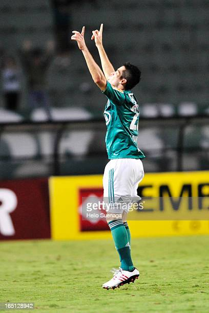 Marcelo Oliveira of Palmeiras celebrates a goal during the match between Palmeiras and Linense as part of Paulista Championship 2013 at Pacaembu...