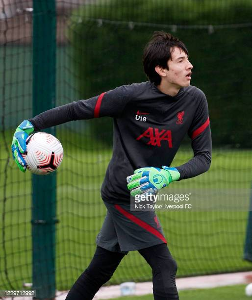 Marcelo Pitaluga of Liverpool during the warm up at Melwood Training Ground on November 21, 2020 in Liverpool, England.