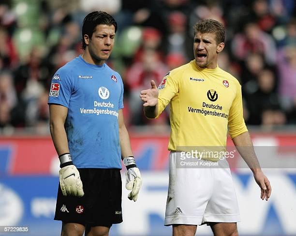 Marcelo Pletsch of Lautern and goalkeeper Florian Fromlowitz react during the Bundesliga match between Bayer 04 Leverkusen and 1. FC Kaiserslautern...