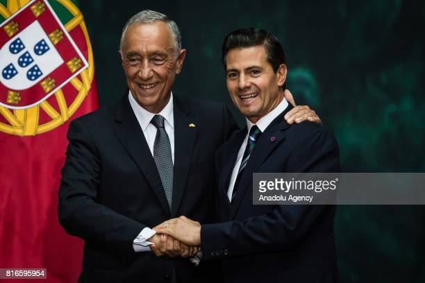 Marcelo Rebelo de Sousa President of Portugal and Enrique Pena Nieto President of Mexico are seen during a joint press conference at the National...