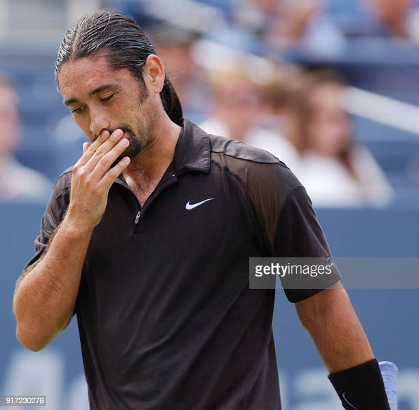 Marcelo Rios of Chile reacts after missing a shot against Jiri Novak of the Czech Republic during their third round match at the US Open Tennis...