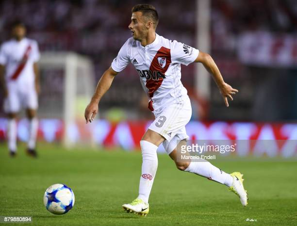 Marcelo Saracchi of River Plate drives the ball during a match between River and Newell's Old Boys as part of Superliga 2017/18 at Monumental Stadium...