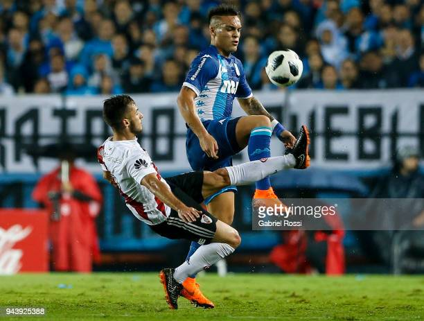 Marcelo Saracchi of River Plate fights for the ball with Lautaro Martinez of Racing Club during a match between Racing Club and River Plate as part...
