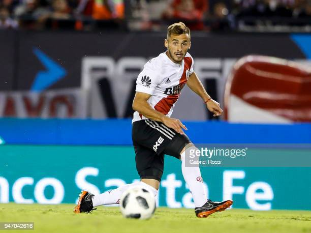 Marcelo Saracchi of River Plate kicks the ball during a match between River Plate and Rosario Central as part of Superliga 2017/18 at Estadio...
