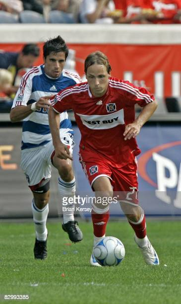 Marcelo Saragosa of FC Dallas chases after Justin Mapp of the Chicago Fire during the second half at Toyota Park on September 21 2008 in Bridgeview...