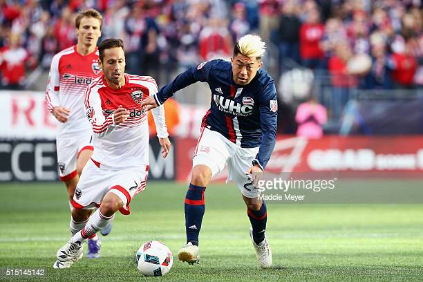 Marcelo Sarvas of DC United defends Lee Nguyen of New England Revolution during the second half at Gillette Stadium on March 12 2016 in Foxboro...