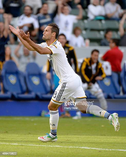 Marcelo Sarvas of Los Angeles Galaxy reacts to his goal to take a 10 lead over the Seattle Sounders FC during the Western Conference Final at StubHub...