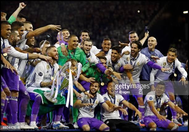 Marcelo Sergio Ramos lifting the cup Luka Modric Keylor Navas Gareth Bale Marco Asensio Isco Cristiano Ronaldo of Real Madrid celebrate the victory...