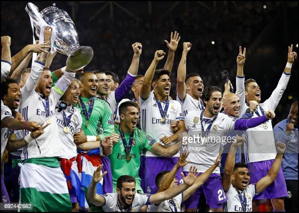 Marcelo Sergio Ramos lifting the cup Luka Modric Keylor Navas Gareth Bale Marco Asensio Isco Cristiano Ronaldo of Real Madrid celebrate the victory...