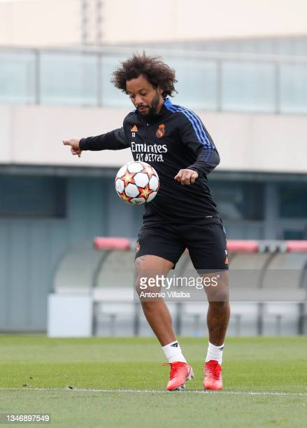 Marcelo Silva of Real Madrid is training at Valdebebas training ground on October 16, 2021 in Madrid, Spain.