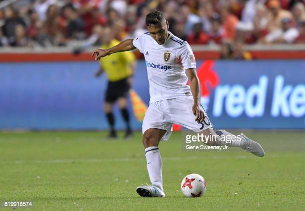 Marcelo Silva of Real Salt Lake directs the ball during the International friendly game against Manchester United at Rio Tinto Stadium on July 17...