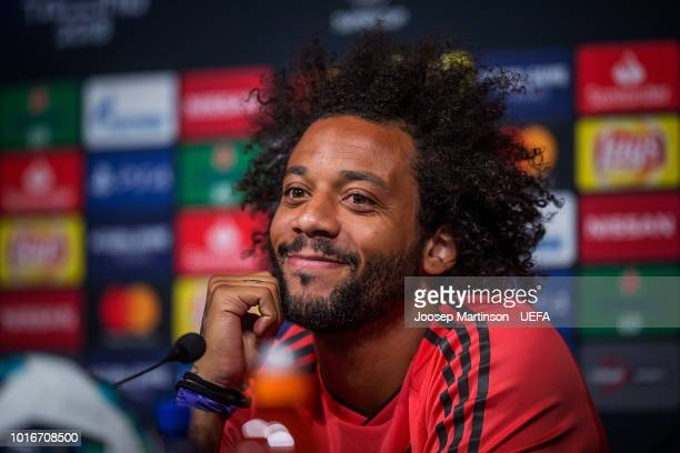 Marcelo speaks to the media during Real Madrid press conference at A le Coq Arena ahead of the UEFA Super Cup on August 14 2018 in Tallinn Estonia