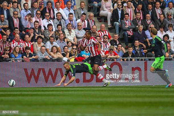 Marcelo tackles Kolbeinn Sigthorsson during the match PSV-AJAX played in Eindhoven on April 14th 2013