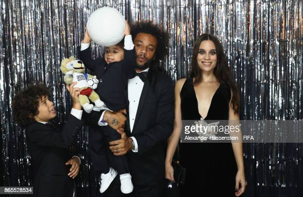 Marcelo Vieira and his family are pictured inside the photo booth prior to The Best FIFA Football Awards at The London Palladium on October 23 2017...