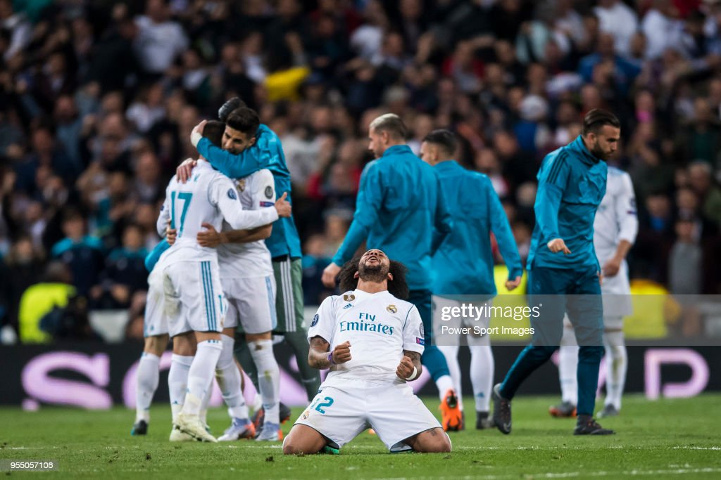 Marcelo Vieira Da Silva of Real Madrid celebrates after the UEFA Champions League Semi Final Second Leg match between Real Madrid and Bayern Muenchen at the Bernabeu on May 1, 2018 in Madrid, Spain.