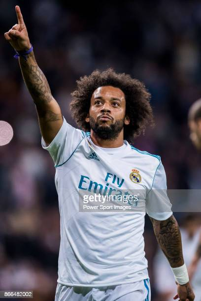 Marcelo Vieira Da Silva of Real Madrid celebrates during the La Liga 2017-18 match between Real Madrid and SD Eibar at Estadio Santiago Bernabeu on...