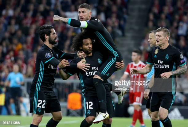 Marcelo Vieira da Silva of Real Madrid celebrates his goal with Sergio Ramos Isco Toni Kroos during the UEFA Champions League Semi Final first leg...