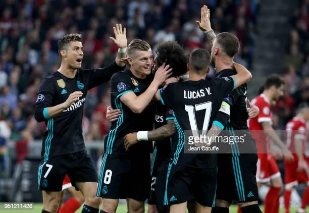 Marcelo Vieira da Silva of Real Madrid celebrates his goal with Cristiano Ronaldo Toni Kroos Isco Sergio Ramos during the UEFA Champions League Semi...