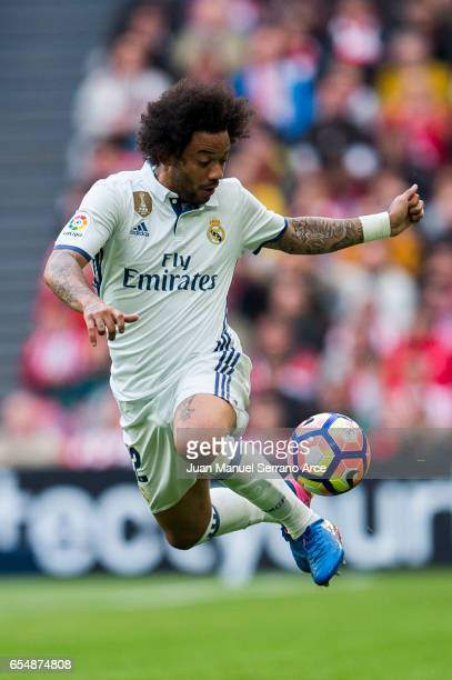 Marcelo Vieira da Silva of Real Madrid controls the ball during the La Liga match between Athletic Club Bilbao and Real Madrid at San Mames Stadium...