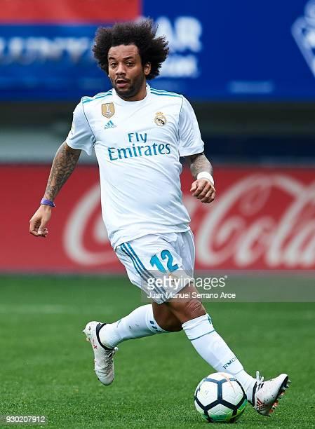 Marcelo Vieira da Silva of Real Madrid controls the ball during the La Liga match between SD Eibar and Real Madrid at Ipurua Municipal Stadium on...