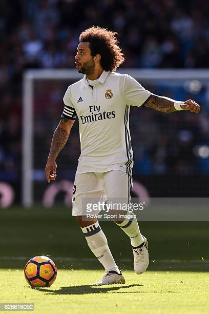 Marcelo Vieira Da Silva of Real Madrid in action during their La Liga match between Real Madrid and Deportivo Leganes at the Estadio Santiago...