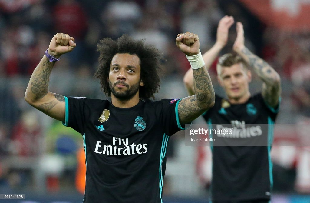 Marcelo Vieira da Silva, Toni Kroos of Real Madrid celebrate the victory following the UEFA Champions League Semi Final first leg match between Bayern Muenchen (Bayern Munich) and Real Madrid at the Allianz Arena on April 25, 2018 in Munich, Germany.