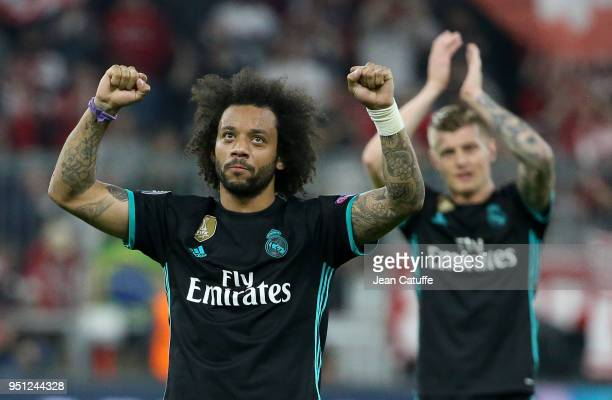 Marcelo Vieira da Silva Toni Kroos of Real Madrid celebrate the victory following the UEFA Champions League Semi Final first leg match between Bayern...