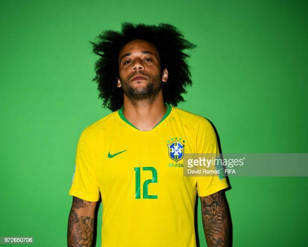 Marcelo Vieira of Brazil poses during the official FIFA World Cup 2018 portrait session at the Brazil Team Camp on June 12 2018 in Sochi Russia