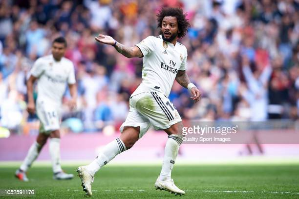 Marcelo Vieira of Real Madrid celebrates after scoring his team's first goal during the La Liga match between Real Madrid CF and Levante UD at...
