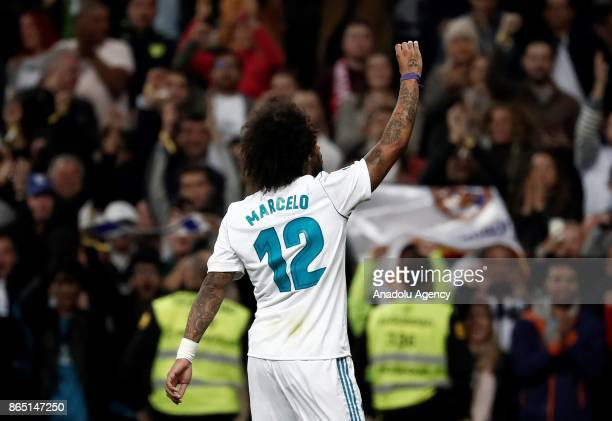 Marcelo Vieira of Real Madrid celebrates his goal during the La Liga match between Real Madrid and Eibar at Santiago Bernabeu Stadium on October 22...