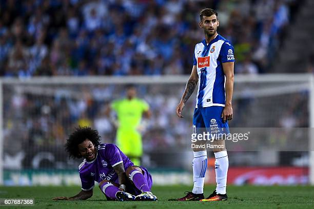Marcelo Vieira of Real Madrid CF reacts on the pitch after a challenge with Leo Baptistao of RCD Espanyol during the La Liga match between RCD...