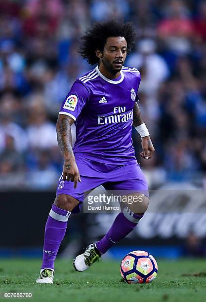 Marcelo Vieira of Real Madrid CF runs with the ball during the La Liga match between RCD Espanyol and Real Madrid CF at the RCDE stadium on September...