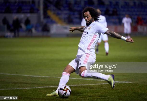 Marcelo Vieira of Real Madrid controls the ball during the Copa del Rey third round match between CD Alcoyano and Real Madrid at El Collao on January...
