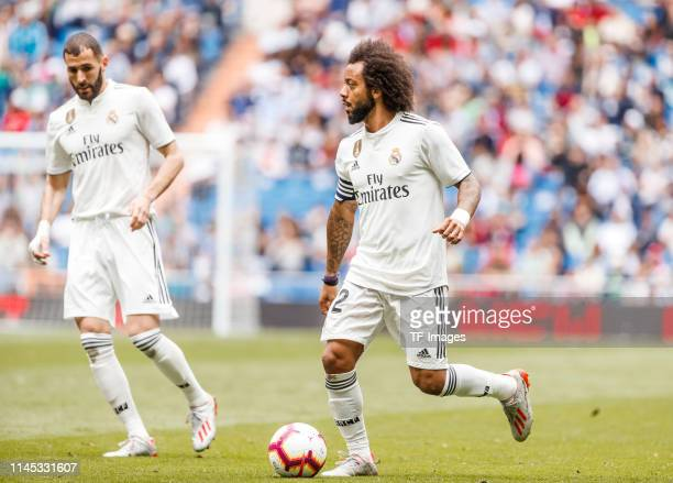 Marcelo Vieira of Real Madrid controls the ball during the La Liga match between Real Madrid CF and Real Betis Balompie at Estadio Santiago Bernabeu...