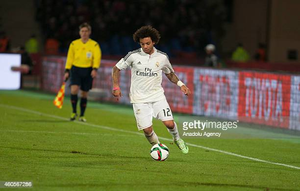Marcelo Vieira of Real Madrid in action during the 2014 FIFA Club World Cup semi final football match between Cruz Azul and Real Madrid at the...