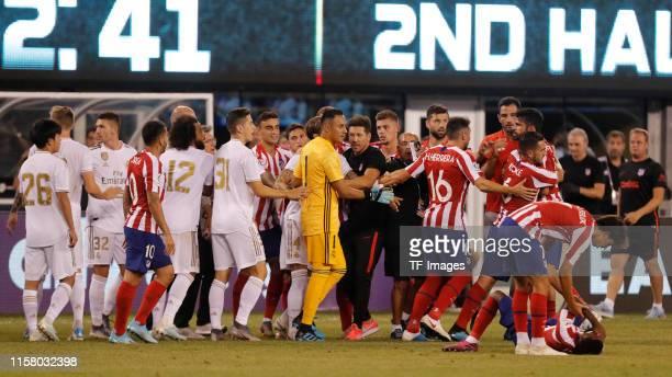 Marcelo Vieira of Real Madrid, Keylor Navas of Real Madrid, Daniel Carvajal of Real Madrid, Head coach Diego Pablo Simeone of Atletico de Madrid,...