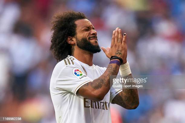 Marcelo Vieira Real Madrid CF reacts during the La Liga match between Real Madrid CF and Real Valladolid CF at Estadio Santiago Bernabeu on August 24...