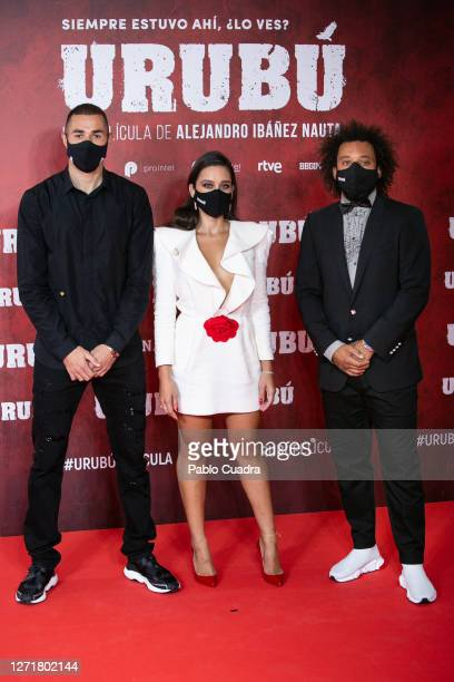 Marcelo Vieira wife Clarice Alves and Karim Benzema attend 'Urubu' premiere at Callao Cinema on September 10 2020 in Madrid Spain