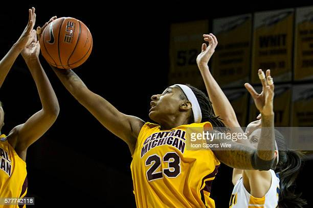 Central Michigan Chippewas guard Crystal Bradford grabs a rebound during a regular season MidAmerican Conference game between the Central Michigan...