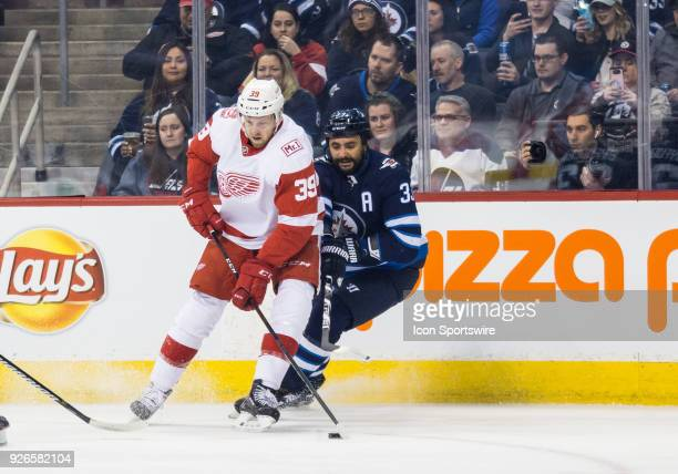 Detroit Red Wings forward Anthony Mantha contests for the puck with Winnipeg Jets defenseman Dustin Byfuglien during the NHL game between the...