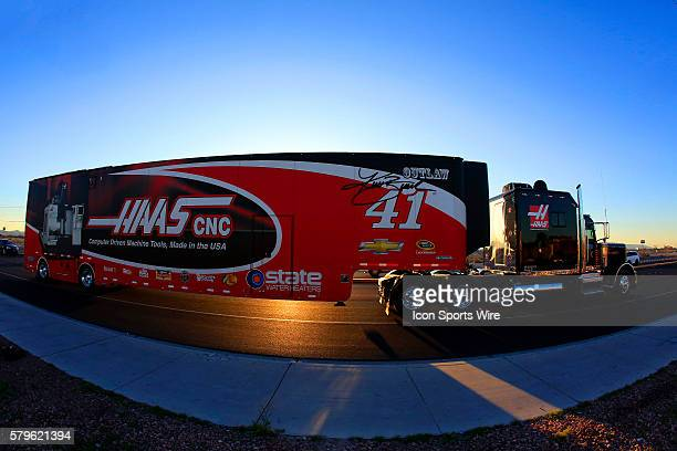 The hauler for Regan Smith StewartHass Racing Chevrolet Impala SS during the Hauler Parade for the Kobalt 400 Sprint Cup Series race at Las Vegas...