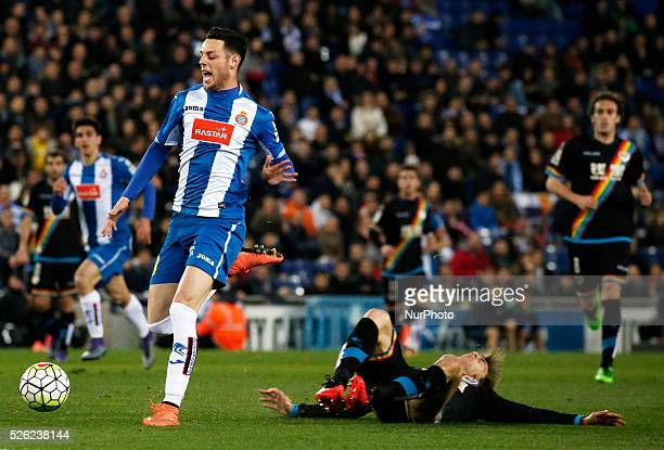 Burgui during the match between RCD Espanyol and Rayo Vallecano corresponding to the week 29 of the spanish league played at the CornellaEl Prtat...