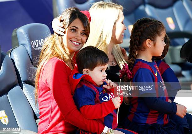 Antonella Roccuzzo Messi wife and his son in the match between FC Barcelona and Rayo Vallecano for the week 26 of the spanish league played at the...