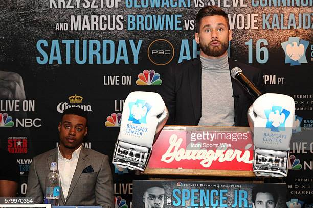 Chris Algieri addresses members of the media about the April 16th PBC on NBC boxing event to be held at The Barclays Center in Brooklyn NY as Errol...