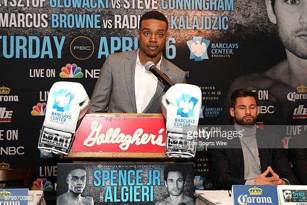 Errol Spence Jr addresses members of the media about the April 16th PBC on NBC boxing event to be held at The Barclays Center in Brooklyn NY as Chris...